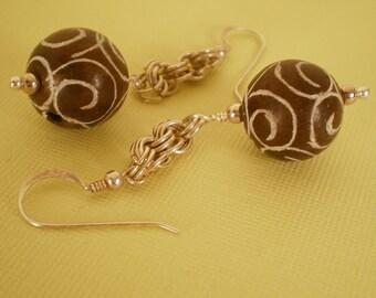Antiqued Jade and Sterling Earrings