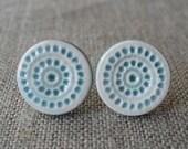 twelve cities posts, pool ... handmade porcelain earrings by Sofia Masri