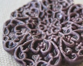 medallion necklace, plum ... handmade porcelain jewelry by Sofia Masri