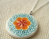 small plum blossom necklace, tangerine and ocean ... porcelain jewelry by Sofia Masri