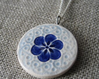 small plum blossom necklace, cobalt ... porcelain jewelry by Sofia Masri