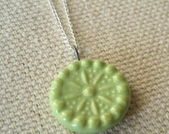 carnival necklace, celery ... handmade porcelain jewelry by Sofia Masri