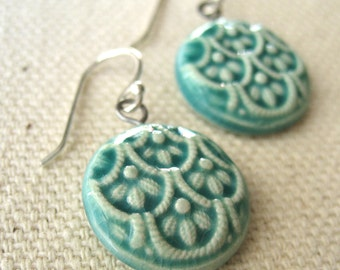 scallop earrings, aqua ... porcelain jewelry by Sofia Masri