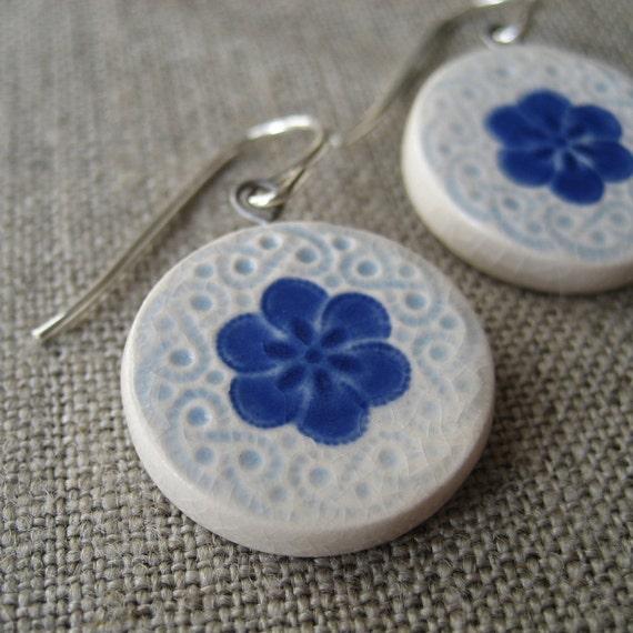 plum blossom earrings, cobalt ... porcelain jewelry by Sofia Masri