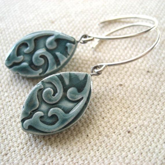 almond earrings, lagoon ... handmade porcelain jewelry by Sofia Masri