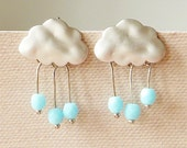 Rain Clouds Post Earrings. Rhodium Plated Clouds with Baby Blue Glass Beads Rain Drops. Sterling Silver Posts Whimsical. Cute.