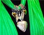 Scarf Jewelry. Bright Emerald Green. Kelly Green. St Patricks Pendant. Heart.