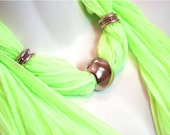 Pendant Scarves Luminous. Lime Green. Silver.  Pendant. Elegant. Accessories. Glamour Bright Scarves