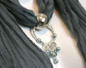 Scarf . Jewellery. Grey. Green Grey. Ducks Egg Blue. Pendant. Silver. Accessories. Gift. Fashion. Chandelier.