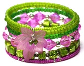 Sping Bracelets Fuchsia Green Beaded Memory Wire Bracelets Layered Bangles  Purple Green Beaded Bracelets Beautiful Bangle  Fashion Bracelet