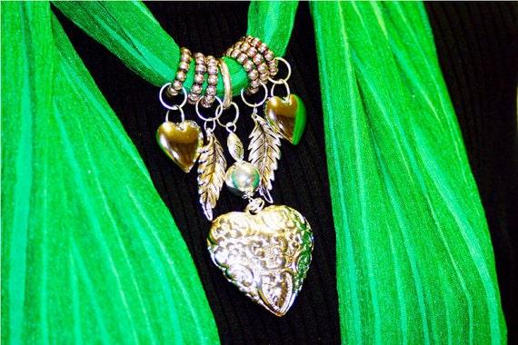 Scarf Jewelry. Bright Emerald Green. Kelly Green. St Patricks Pendant. Heart.