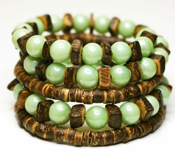 Wrap Bracelet  Jade And Wood, Jade Green, Brown, Nature, Earth Love, Accessories Bangle. Gift