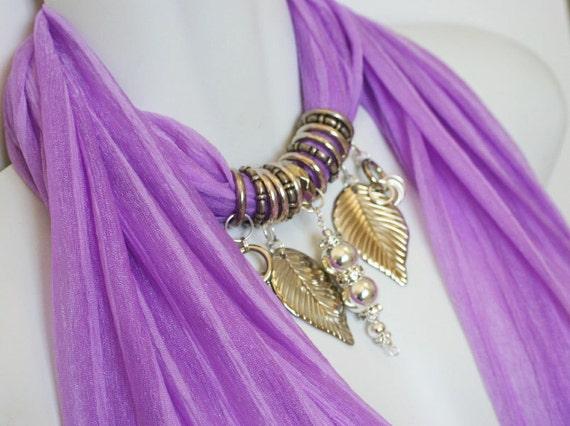 Pendant Scarf Jewelry .Fuchsia. Pinkish Purple. Leaves. Silver. Diamante. Pendant. Elegant. Accessories. Glamour