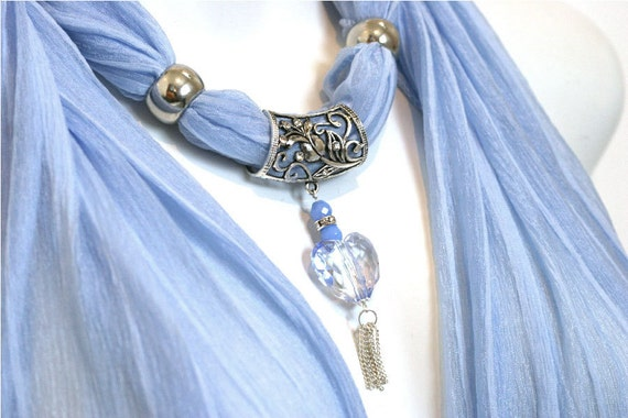 Jewellery Scarves Lavender Blue. Pastel Blue. Heart Pendant. Silver. Scarves With Pendants Accessories. Glamour