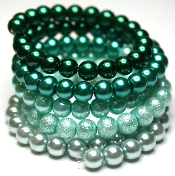 Beaded Wrap Bracelet. Pearl, Bottle Green, Teal, Aqua, Mint, Pastel,  Elegant Accessories Bangle. Gift