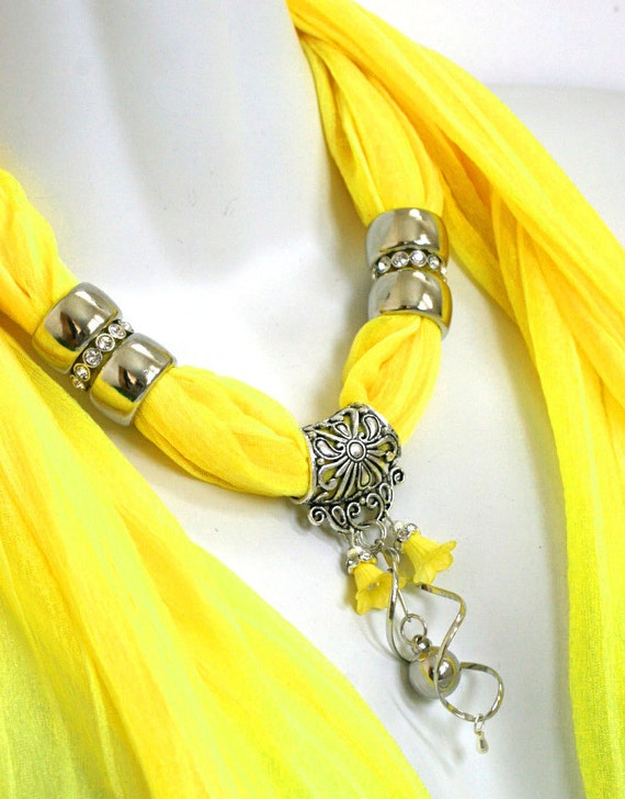 Scarf Charm Necklace Scarf Yellow Scarves Bright Scarves