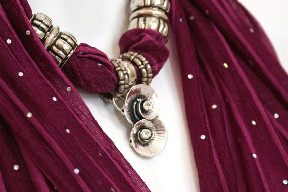 Scarves With Jewellery Pendant Scarf Jewels