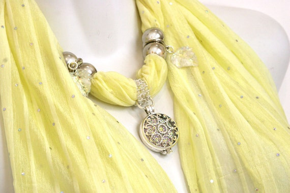 Pendant Scarves Necklace Scarf With Pendant Pastel Scarves