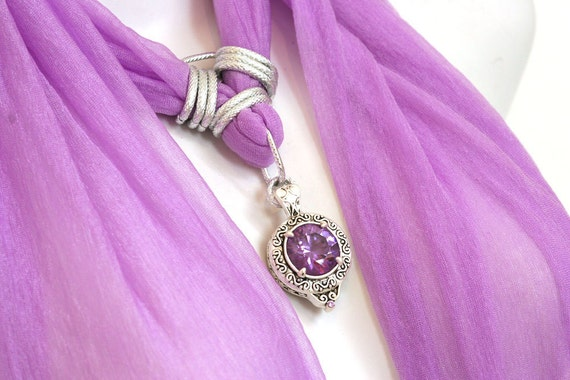RESERVED FOR BHAVITA Scarf Jewelry  With Pendant Fuchsia Purple Scarves With Pendants Necklace Scarfs