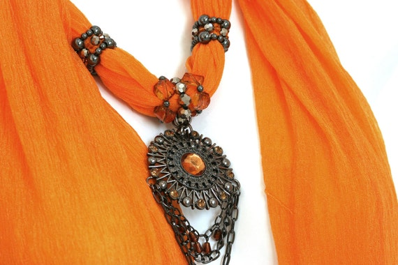 Scarf With Jewelry Pendant  Orange Scarf Silver Grey Pendant Scarf Necklace M