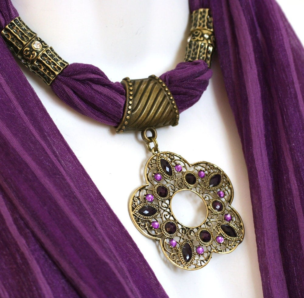 pendant scarf jewelry purple scarves by ravensnestscarfjewel