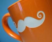 Mustache Mug - Tangerine Orange - sandblasted funny ceramic cup