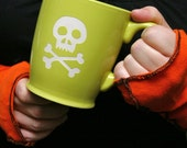 Skull and Bones Mug - Chartreuse Green - large pirate jolly roger coffee cup