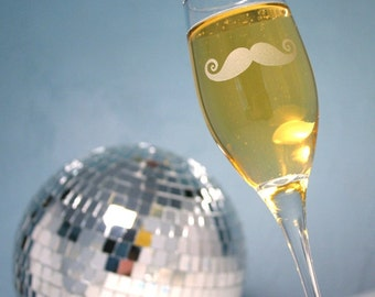 SALE - Mustache Champagne Flute - facial hair lover only - While Supplies Last!