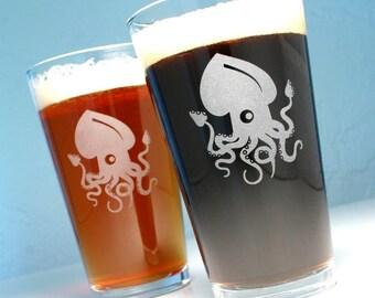 2 Giant Squid Pint Glasses - tentacle beer glasses