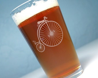 Penny Farthing Bicycle Pint Glass - antique ordinary bike - velocipede