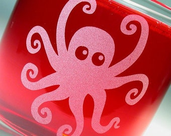 Octopus Etched Lowball Glass
