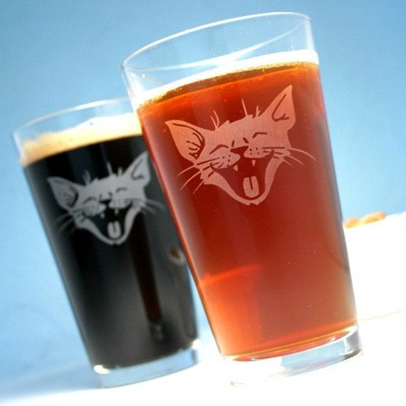 2 LOL Cat Etched Pint Glasses - laughing happy kitten