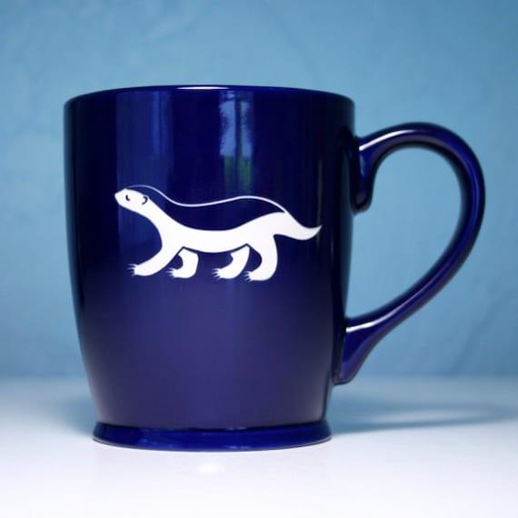 Honey Badger Mug Navy Blue large ceramic by BreadandBadger