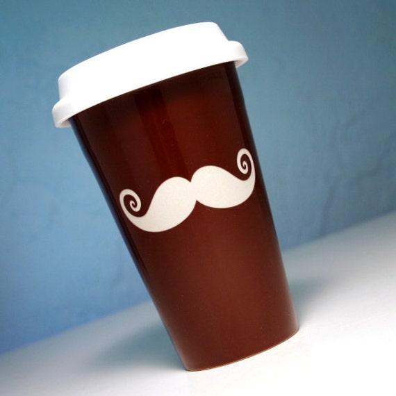 Mustatache Travel Mug - insulated BROWN ceramic coffee cup