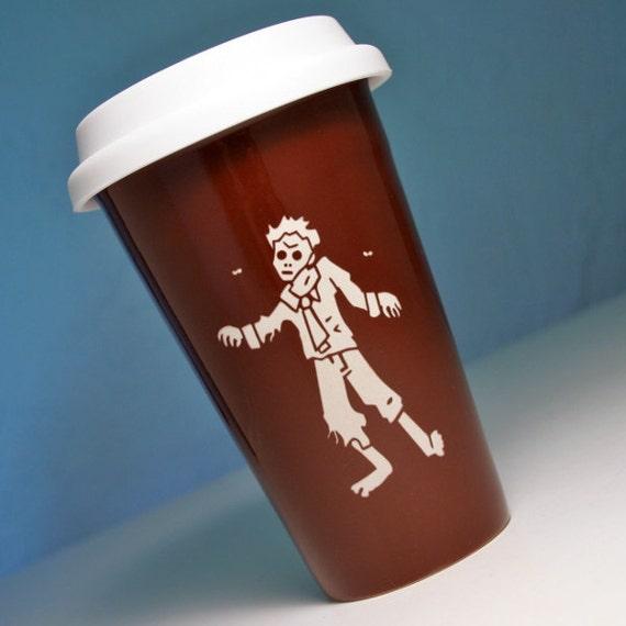 Zombie Travel Mug - insulated BROWN ceramic coffee cup w/ BPA-free lid