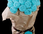 Tiffany Blue Paper Roses Bouquet: bridal shower favors, bridemaids presents, thank you gifts, etc.