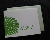 Aloha Print Gocco screenprinted folded card