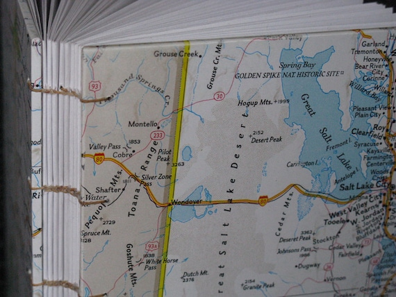 SALE - 50% off Utah Map Travel Journal, Coptic Bound, made with vintage maps by Kristin Crane
