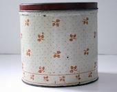 Vintage Kitchen Cannister Tin Red Dot and Leaf Design 1940's
