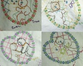 Vintage Sweetheart Kittens 4 piece Set Embroidered Linens REDUCED