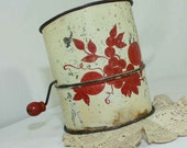 Vintage Flour Sifter Fruit Motif Grapes Apples