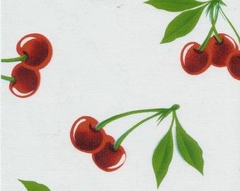 OILCLOTH Fabric - Stella Cherries - White