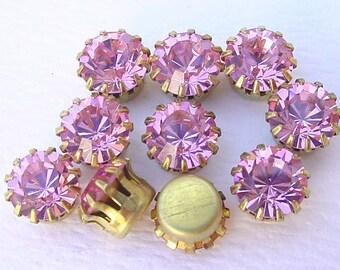 Swarovski Rhinestones Settings Findings in Brass Pink Rose 40SS