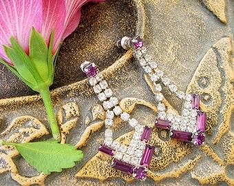 Rhinestone Dangling Earrings Clear Purple Rhinestones