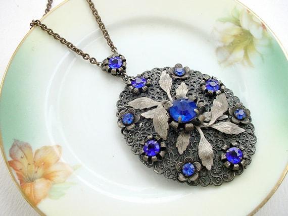 Sapphire Blue Necklace Vintage Rhinestones