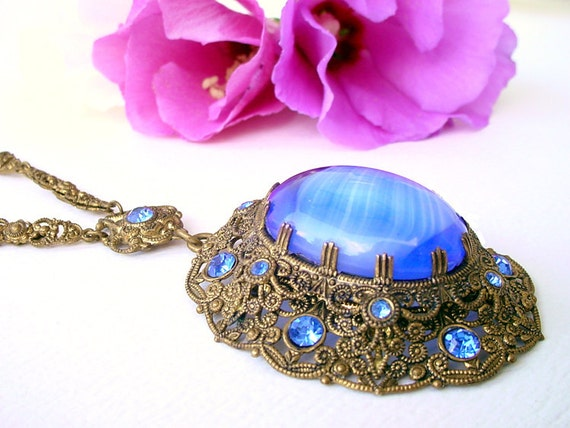 Filigree Blue Necklace - Givre Vintage