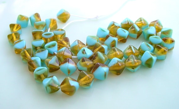 Czech Glass Beads 6mm Topaz Turquoise Bicone - 1 Lot of 50