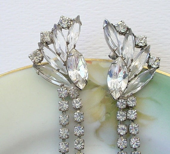 Rhinestone Dangle Earrings Shoulder Duster Clear Diamond Colored Rhinestones