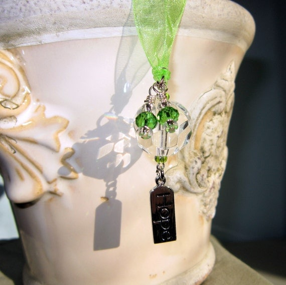 Rearview Mirror Jewelry Charm Car Feng Shui Hope Green