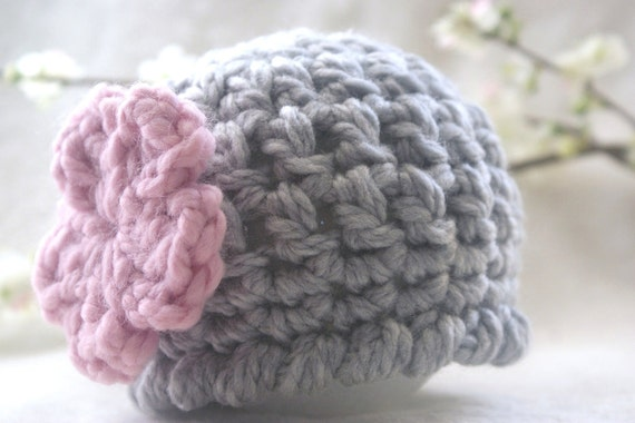 Newborn Baby Girl Hat - gray and pink baby hat - grey and pink baby hat